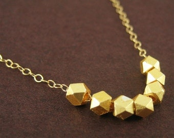 Lucky 7 Gold Nugget Necklace Modern Jewelry Good Luck Charm Birthday Gift for Girls Minimalist Jewelry Under 50