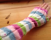 Candy Stripe Extra Long Arm Warmers-Fingerless Gloves-Ladies Long Gloves-Womens Arm Warmers-Ready to Ship
