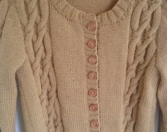 KNIT CHILDS CARDIGAN/Handknit Camel Childs Cardigan-Childs Knit Jacket-Childs Knit Sweater Age 10/11 yrs-Ready to Ship