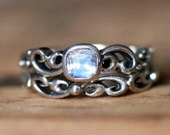 Moonstone engagement ring set - rainbow moonstone ring - antique look wedding set - bezel engagement ring - silver rings - water swirl