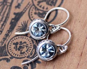 Aquamarine drop earrings, March birthstone, gemstone dangle earrings, silver drop earrings, unique bezel earrings, aquamarine earings custom