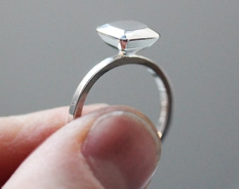 Engagement ring alternative - modern - diamond like - Ascher cut square - faceted metal gem - recycled sterling silver, size 8