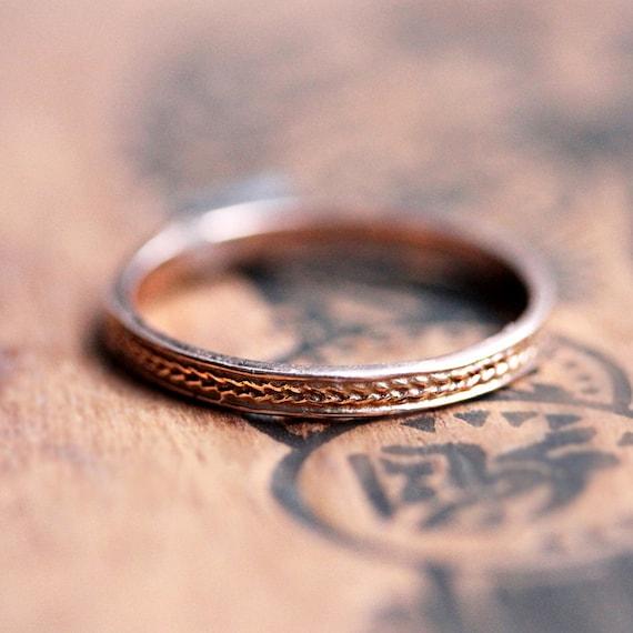 Braided rose gold ring, Rose gold wedding band, thin rose gold wedding band, recycled 14k rose pink gold, 2mm, slim wheat ring, custom made