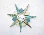 Aqua Starburst Mirror, Decorative Mirror, Coastal Decor, Wood Wall Art, Reclaimed Wood Mirror, Beach House Art, Blue Sunburst Mirror,