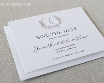 Laurel Wreath Save the Dates, Wreath Save the Dates, Monogram Save the Dates, Vintage Save the Dates, Printed Save the Dates, Classic