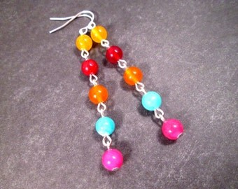 Gemstone Earrings, Dyed Jade, Colorful and Silver Dangle Earrings, FREE Shipping U.S.