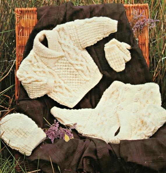 Scarves Knitting Patterns Free : Aran Knitting Patterns Children Sizes 16-30 inches 41-76 cm