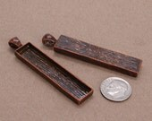 10pcs 12x53mm vertical antique copper Pewter blank bezel rectangle Pendant Tray