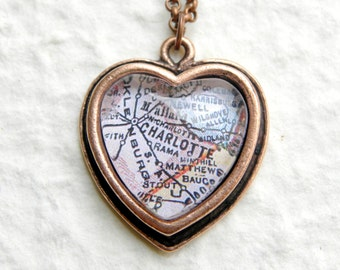 Charlotte Map Necklace - Choose your favorite map out of 30 choices