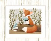 fox art print -- The Bookish Forest: Fox - childrens art illustration nursery print cute and whimsical woodland forest