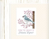 Personalized Bookplates - Tufted Titmouse - Set of 18 - kids bookplates birds blue purple