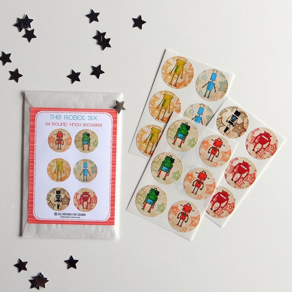 ON SALE -The Robot Six Sticker Set of 54 Round 1-inch stickers party gift favor robots toys illustrated art cute