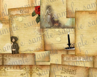 ART TEA LiFE 18 Sheet Set for 5 x 7 DIY Book of Shadows bos Wiccan Witch Scrapbook Workbook Journal Collage Sheet printable download