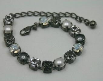 Timeless Elegance Black Rose Swarovski Elements Tennis Bracelet Rhinestone 8mm White Pearl Gunmetal