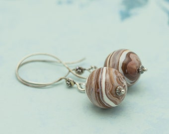 SALE Chocolate Swirl Polymer Clay and  Sterling Silver Earrings