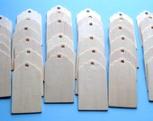 """35 natural wood scalloped edge tags-approx. 1-1/2"""" wide x 3"""" tall"""