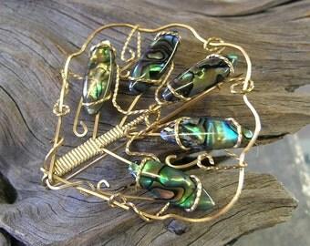 Beautiful Blue Paua Shell Wirewrapped Fan Pin