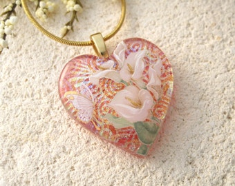Dichroic Calla Lily Necklace - Gold Necklace- Pink Calla Lily - Dichroic Fused Glass Jewelry - Heart - Dichroic Glass Necklace 103114p100