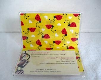 Business Card Holder Ladybug Mini Wallet Yellow Lady Bugs Hearts