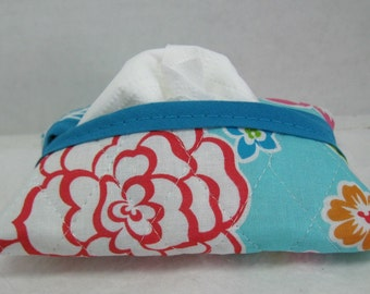 Pocket Quilted Tissue Case Hawaiian Floral Tissue Holder Tropical Flowers