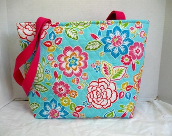 Tropical Flowers Quilted Large Tote - Hawaiian Floral Purse - Outside and Inside Pockets