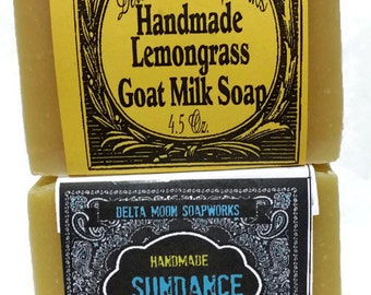 READY TO SHIP- Lemongrass and Sundance Goat Milk Soaps, handmade citrus soap, cold process soap,  unisex soap, olive oil soap, shaving soap