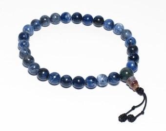 Sodalite Wrist Mala Tibetan Buddhist Juzu Beads, 8mm 27 Beads, Third Eye Chakra, 6th Chakra, Prayer Beads, Yoga Bracelet, Deep Blue, Mens