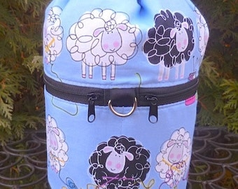 Sheep Knitting bag, drawstring bag, knitting in public bag, small project bag, Knitty Sheep, Kipster