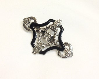 Vintage Art Deco Black and Silver Brooch