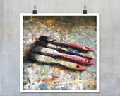 Still Life Photography: artists studio four paintbrushes brush texture abstract pattern wall art home decor - 7x7 12x12 15x15 18x18 22x22