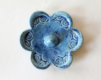 Ready to ship, Speckled Blue Ring Holder, Ring Dish, Ring Bowl, Great Gift idea