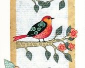 Spring - A4 size print . Colourful bird on branch - mixed media artwork for nursery , home decor , childrens room
