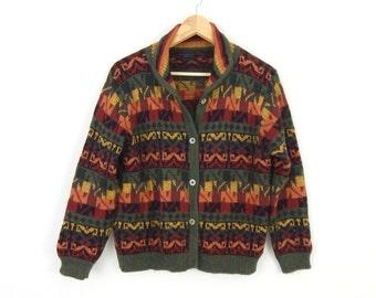 Vintage 90s Peruvian Alpaca Sweater - Size Small - Women's Green Gold Orange Ethnic Inca Geometric Tribal Peru Knit Cardigan