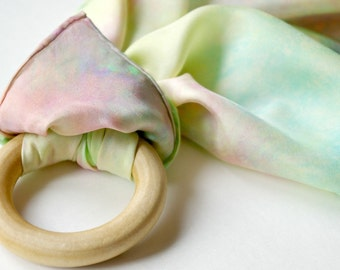 Infant Sensory and Teething Toy : Playsilk and Wooden Ring (You Choose Colors)