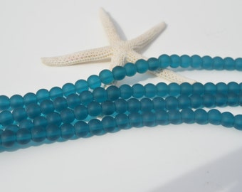 Sea glass beads, drilled glass beads, beach glass, round 4  mm glass, drilled beads. Turquoise, supplies, crafts, jewelry, beading, findings
