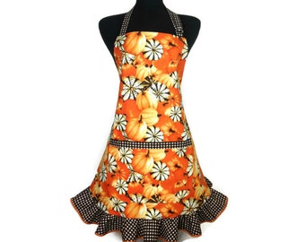 Orange Pumpkin Apron for women , Adjustable with Check Ruffle ,  Thanksgiving / Autumn Kitchen Decor