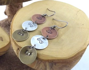 Dog Lovers hand stamped copper aluminum and brass long french hook earrings