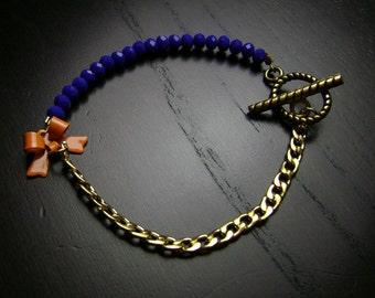 Blue and Orange Crystal Itty Bitty Bow Bracelet