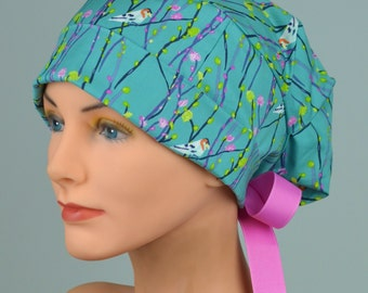 Scrub Hats // Scrub Caps // Scrub Hats for Women // The Hat Cottage // Small // Ribbon Ties // Birdie