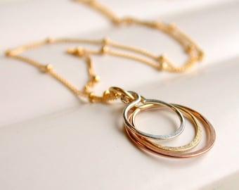 Petite Triple Hoop Necklace. Circle Pendant Necklace. Hoop Pendant.  Hammered Hoop Pendant. Mixed Metal Pendant.