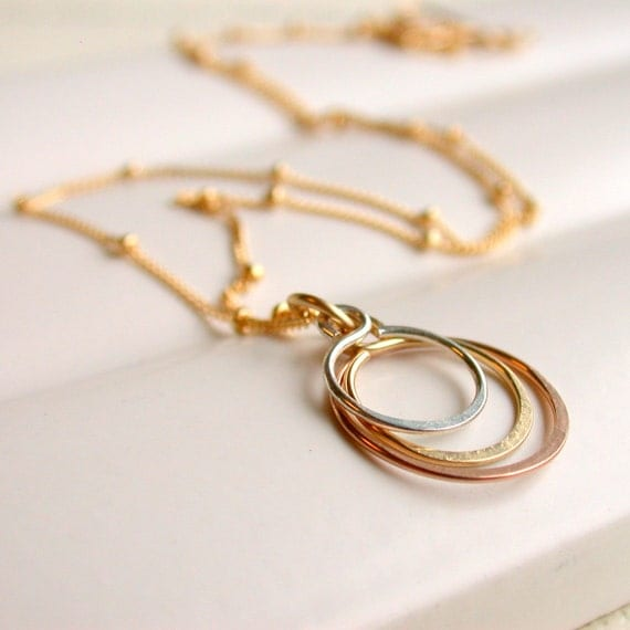 Petite Triple Hoop Necklace. Circle Pendant Necklace. Hoop Pendant.  Hammered Hoop Pendant. Mixed Metal Pendant.