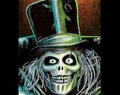 "Print 8x10"" - The Hatbox Ghost - Haunted Mansion Disney Spooky Halloween Skull Skeleton Creepy Horror Dark Art Lowbrow Macabre Gothic"
