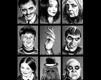 "Prints 5x7"" - The Addams Family - Morticia Gomez Wednesday Classic Dark Art Comedy TV Horror Gothic Pop Art Lurch Horror Vintage LOL Fester"