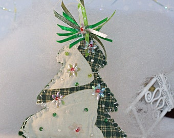 Small Quilty Christmas Tree ornament - Folk Art, OOAK, Hand Created, Custom Order (6 inches)