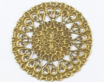 8pc 50mm antique bronze round filigree wraps-1554c