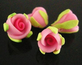 6pc Pink Handmade Polymer Clay Flower Beads-2243