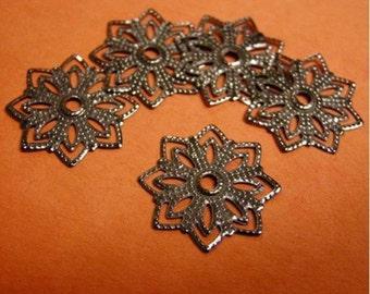 30pc gunmetal filigree flower shape spacer-2250
