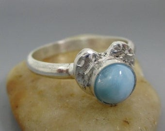 Fine Silver Floral Heart Larimar Sterling Silver Ring