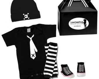 Baby Punk Rock Gift Set - Skull Tie Onesie, hat, Sneaker booties & leg warmers Kit