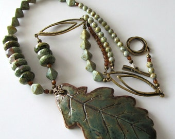 Pottery Leaf Pendant Necklace, ON SALE was 90, now 70, Rhyolite Gemstones, Antique Brass, Earthtones, Green, Beaded Necklace, Woodlands